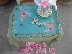 beautiful tourqoise tea party tea trays | Turquoise Serving Tray Tea Party Tole tray by myplace4tea