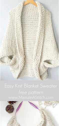 Knit Cocoon Shrug Pattern Easy Free Tutorial