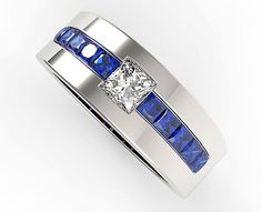 Mens Wedding BandUnique Wedding BandsBlue Sapphire Wedding