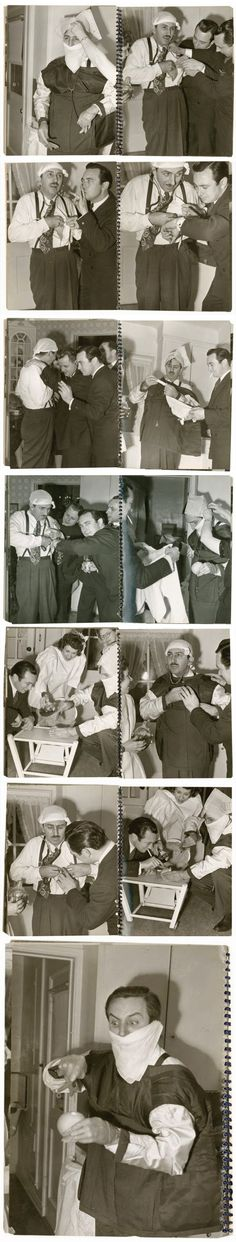 """A hand-made spiral-bound book popped up at an auction in 2011. Titled """"Walt Disney demonstrates an appendectomy with Drs. Bowers, Avery & Nelson,"""" the photos depict Walt doing all sorts of crazy things like wearing his suit inside-out, checking his heartbeat, wearing a make-shift surgical cap and mask, and performing an operation on an orange. The set ends with a priceless maniacal look as he cuts into an orange. Walt Disney like you've never seen before..."""