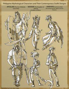 Some Philippine Mythological Characters by ArvinJezer on DeviantArt Filipino Art, Filipino Culture, Filipino Tattoos, Philippine Mythology, Philippine Art, Tarot, Vikings, Mythological Characters, Native Tattoos