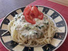 Cukkinis-tejszínes tészta sajttal Spaghetti, Yummy Food, Ethnic Recipes, Foods, Food Food, Food Items, Delicious Food, Noodle