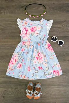 Our daring blue mist floral dresses are great quality and stunning! Frocks For Girls, Little Girl Dresses, Girls Dresses, Summer Dresses, Trendy Outfits, Kids Outfits, Cute Outfits, Baby Couture, Feather Dress