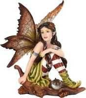 Mystical: Fairyland Fairy: Autumn Elf Fairy Sitting on Oak Leaf  Figurine