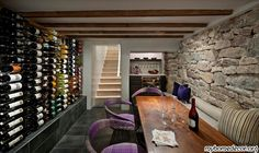 Camino Santander, Santa Fe Residence - modern - wine cellar - R Brant Design Adobe Haus, Wine Cellar Basement, Low Ceiling Basement, Home Wine Cellars, Wine Tasting Room, Tasting Table, Wine Cellar Design, Basement Renovations, Wine Storage
