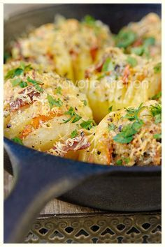Hasselback Potatoes...The Sequel.....with Bacon, Parmesan, Basil, and Garlic