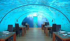 "Underwater restaurant ""Ithaa"" at the Conrad on Rengali Island in Maldives."