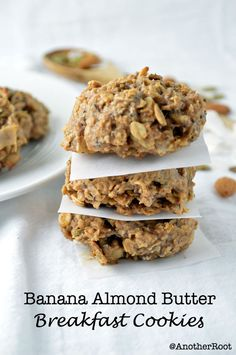 Banana Almond Butter Breakfast Cookies -- the perfect breakfast or snack, alone or crumbled over greek yogurt! [recipe]