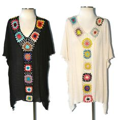 LA PLAYA Boho HAND CROCHET Granny Square Block Beach Kaftan Tunic Cream Black #WeekendinVegas #KaftanCoverUp #SummerBeach