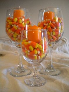 Candy Corn Wine Glass with Candles.