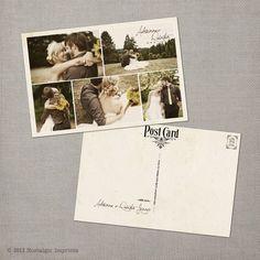 Adrianna Vintage Wedding Postcard Thank You by NostalgicImprints, $64.00