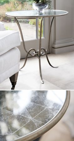 A french inspired design. This side table combines a gilded metal frame with an antiqued Eglomise top. Conservatory Lighting, Conservatory Interiors, Conservatory Furniture, Garden Room Extensions, Design Inspiration, Flooring, French, Inspired, Chair