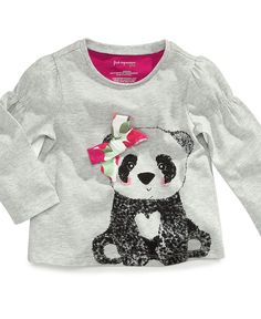 First Impressions Baby Shirt, Baby Girls Long-Sleeved Bow Bear Top - Kids - Macy's