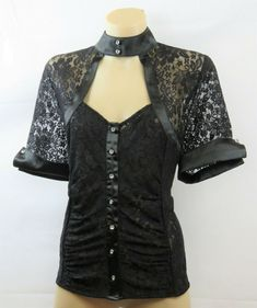 Size Xl 16 Events Ladies Black Lace Top Cocktail Chic Evening Gothic Edgy  Design  Events 53ceb9f4c8
