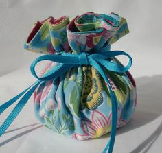 Bright Blue Flowered Travel Jewlery Bag by RoseysHatbox on Etsy, $15.00