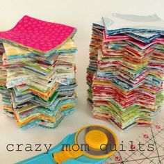 one way to randomize patchwork ~ Great tips for a scrappy, random patchwork layout from Crazy Mom Quilts! The possibilities are endless with thousands of fabrics to choose from at the Fabric Shack at http://www.fabricshack.com/cgi-bin/Store/store.cgi