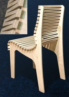 dos tablas en horizontal seguida con tabla en corte de kerf blending, formado respaldo y asiento -S