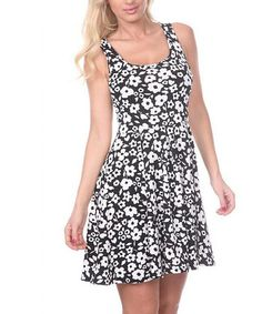 Look what I found on #zulily! Black & White Floral A-Line Sleeveless Dress by White Mark #zulilyfinds