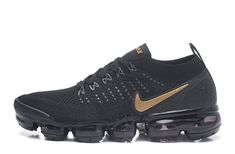 a4d40324871af Nike Air VaporMax 2018 Flyknit 2.0 OW Black Golden Men Shoes Nike Shox Shoes