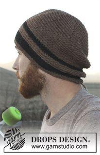 """Cappello da uomo DROPS lavorato all'uncinetto in """"Nepal"""". Taglie: dalla S alla XL. ~ DROPS Design"""