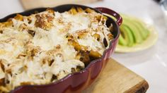 Chipotle Chicken Pasta Casserole from Pati Jinich, the host behind Pati's Mexican Table! Give cheesy chicken pasta casserole a spicy kick with chipotle peppers