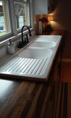 Vintage Kitchen Sink Stainless Steel Farmhouse With The Original Drainboard Walls Floor Light Fixture And A Wonderful Old Enamel Table Etsy Com House Pinterest