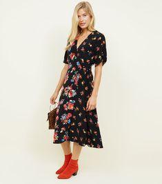 Black Mixed Floral Midi Wrap Dress  ec0bec0d6912