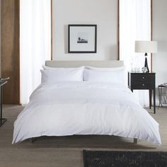 Carla Pure Snow Embroidered 100% Cotton Duvet and Pillowcase Set