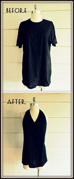 DIY Clothes Refashion: DIY No Sew, Tee Shirt- Tied Halter. Maybe this will work for making the 50s Halloween costume.