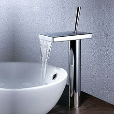 Modern Bassin Waterval with Keramische ventiel Single Handle Een Hole for Chroom Wastafelkranen
