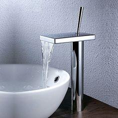 Modern Bassin Waterval with Keramische ventiel Single Handle Een Hole for Chroom Wastafelkranen