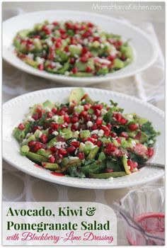 Avocado, Kiwi & Pomegranate Salad with Blackberry-Lime Dressing - MamaHarrisKitchen.com