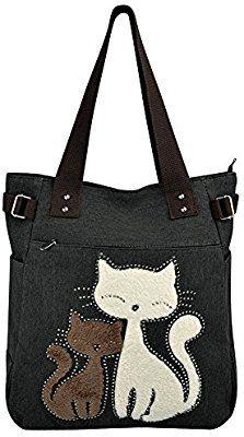 Vbiger Bolsos Totes para Mujer con Lona Linda del Gato Cat Purse, Cat Bag, Canvas Handbags, Canvas Tote Bags, Fashion Handbags, Fashion Bags, Purses And Bags, My Bags, Patchwork Bags