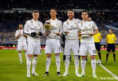 FIFA award winners Toni Kroos, Cristiano Ronaldo, Sergio Ramos and James Rodríguez with trophies ahead of the Copa del Rey round of 16 second leg match between Real Madrid and Atletico de Madrid at Estadio Santiago Bernabeu on January 15, 2015 in Madrid, Spain.