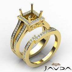 Diamond Engagement Princess Ring 0.9Ct 14k Yellow Gold Semi Mount Split Shank