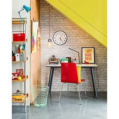 Buy House by John Lewis Brick Wall Wallpaper, Putty from our Wallpaper range at John Lewis & Partners. Free Delivery on orders over Home Office Design, Office Decor, Office Ideas, John Lewis Furniture, Brick Wall Wallpaper, Home Office Furniture, Inspired Homes, Office Interiors, Home Buying