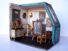 "Hand-made miniature Scene 1:12 scale "" The studio of Pierre-Paul Prud'hon"" by Pequeneces (Spain) on Etsy  $465.44"