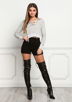 New Trendy Clothing Styles Added Everyday With Newest Trendy Clothes. Check Out What's New Today! Junior Outfits, Short Outfits, Sexy Outfits, Trendy Outfits, Fashion Outfits, Junior Clothes, Long Boots Outfit, Thigh High Boots Outfit, Sexy Boots