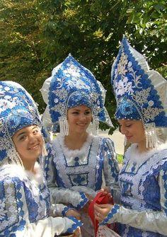 Russian costume. Kokoshnik. Stylization.