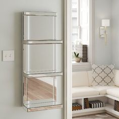 Rosdorf Park This mirrored shelf features 3 shelves and can be hung on the wall. Silver Wall Mirror, Wall Mirrors Set, Mirror With Shelf, Round Wall Mirror, Wood Mirror, Mirror Buffet, Silver Vanity, Display Shelves, Wall Shelves