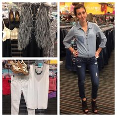 Monochromatic looks are so fun! Pair skinny pants with an embellished top for a more dramatic look!!