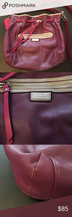 Coach Handbag and Matching Wristlet Absolutely gorgeous Daisy Spectator leather bag and matching wristlet in plum and fuchsia colors. Bag and wristlet have a little wear on the bottom edges as seen in picture and bag has a small scratch (barely visible). Wristlet has a small pen mark. Insides of both are extremely clean. Measurements for the bag are 13 x 9 and wristlet is 8 x 4.5. Coach Bags Shoulder Bags