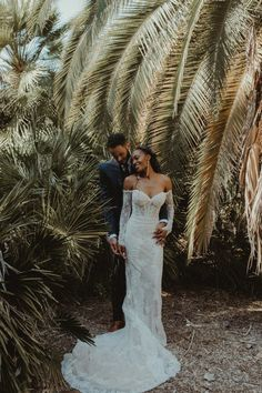 This California wedding at Fullerton Arboretum was inspired by the groom's sultry New Orleans roots and the couple's free-spirited engagement photo shoot in Joshua Tree | Image by Kayci Decker Photography #coupleportrait #weddingdress #bridalstyle #modernweddinginspo #desertweddinginspo #botanicalweddinginspo #earthyweddinginspo