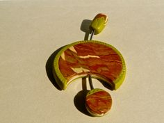Quirky pendants and brooch in lime and brick polymer clay 1552