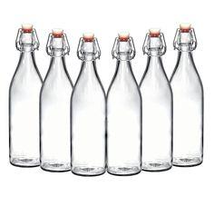 Amazon.com: Set of 6 - 33.75 Oz Giara Glass Bottle with Stopper, Swing Top Bottles for Oil, Vinegar, Beverages, Beer, Water, Kombucha, Kefir, Soda, By California Home Goods: Kitchen & Dining