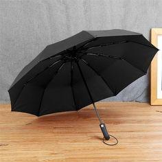 JESSE KAMM BIG STRONG WINDPROOF MEN GENTLE FOLDING COMPACT FULLY AUTOMATIC RAIN PONGEE UMBRELLAS