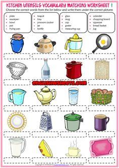 Kitchen Utensils ESL Matching Exercise Worksheets For Kids Food Vocabulary, Vocabulary Worksheets, Worksheets For Kids, Hand Washing Facts, Kitchen Utensils Worksheet, Kitchen Equipment List, Test For Kids, Printable Crossword Puzzles, Nouns Worksheet