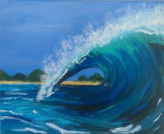 Wave-Original Acrylic painting-Oceanscapes-surfing by MeandMias