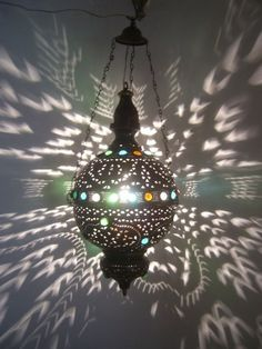 Moroccan Jeweled Oxidized Brass Pendant Lamp Lantern #Moroccan