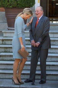 King Juan Carlos of Spain receives Queen Maxima of The Netherlands at Zarzuela Palace on September 18, 2013 in Madrid, Spain.
